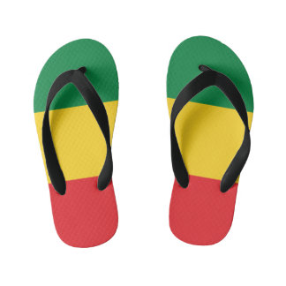 Green, Gold (Yellow) and Red Colors Flag Kid's Flip Flops