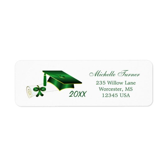 Green & gold yellow  Mortar, diploma Avery Label Return Address Label
