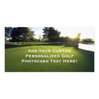 Green Golf Course at Dawn Personalized Photo Card