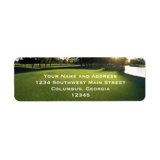 Green Golf Course at Dawn Return Address Label
