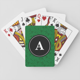 Green Golf Theme Monogram Playing Cards
