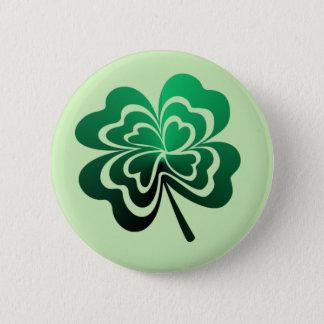 Green Gradient Four Leaf Clover 2 Inch Round Button