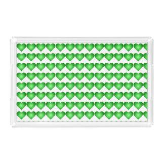 Green Gradient Hearts Acrylic Tray