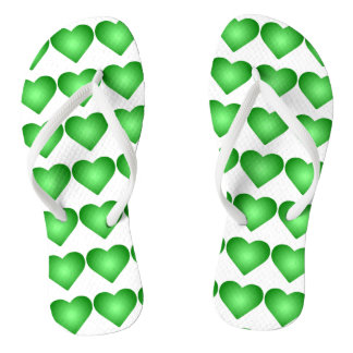 Green Gradient Hearts Flip Flops