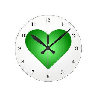Green Gradient Hearts Round Clock