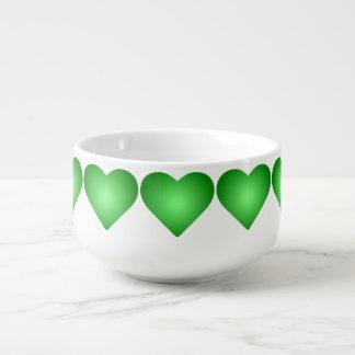 Green Gradient Hearts Soup Mug