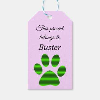Green Gradient Paw Print Gift Tags