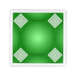 Green Gradient With White Squares Retro Pattern Acrylic Tray