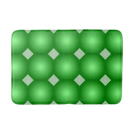 Green Gradient With White Stripes Bathroom Mat