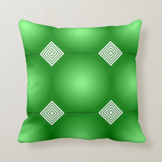 Green Gradient With White Stripes Throw Pillow