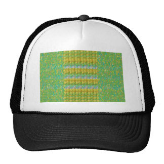 Green Graffiti Confetti n Crystal Bead Stone Patch Mesh Hats