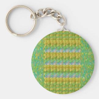 Green Graffiti Confetti n Crystal Bead Stone Patch Key Chain