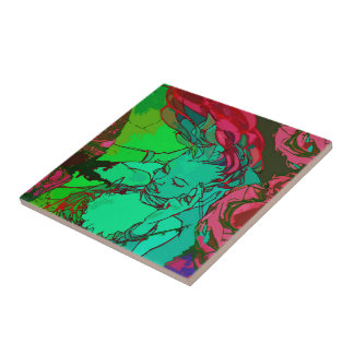Green graffiti girl ceramic tile