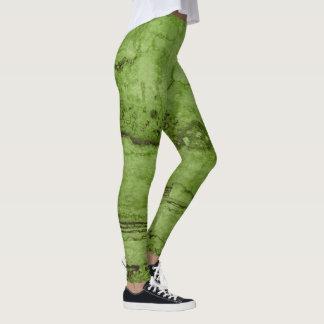 Green granite leggings