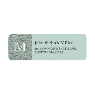 Green Granite Monogram Return Address Labels