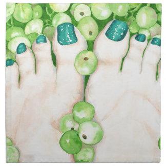 Green Grapes and Pedicure Napkin