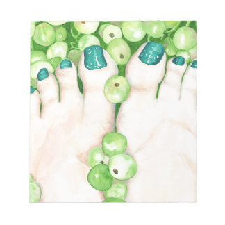 Green Grapes and Pedicure Notepad