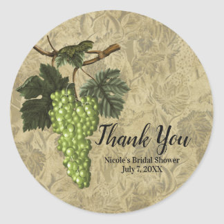 Green Grapes Rustic Elegant Wedding Party Favor Classic Round Sticker