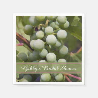 Green Grapes Vineyard Bridal Shower Disposable Napkins