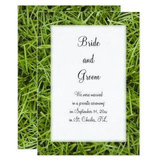 Green Grass Backyard Marriage Announcement
