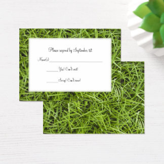 Green Grass Backyard Wedding RSVP Business Card