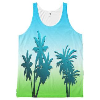 Green Grass Blue Sky Paradise Beach Palm Tree All-Over-Print Tank Top