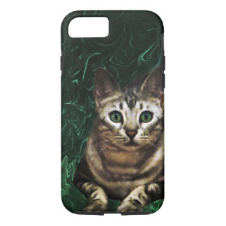 Green Grass Cat Eyes of a Marble Lepre-cat iPhone 7 Case