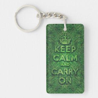 Green grass keep calm and carry on Single-Sided rectangular acrylic keychain