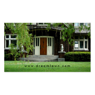 Green grass lawn care home Business Card