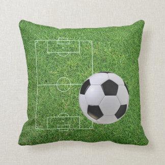 Green Grass Soccer Field And Ball Throw Pillow
