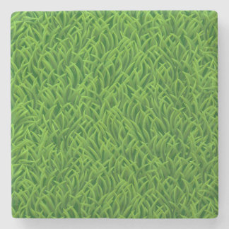 Green grass texture stone beverage coaster