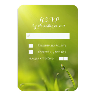 Green grass wedding RSVP cards