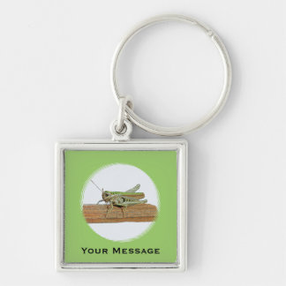 Green Grasshopper Cartoon Luggage & Laptop Tag Silver-Colored Square Keychain