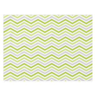 Green, Gray, and White Chevron Stripe Tablecloth