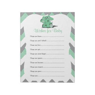 Green & Gray Chevron Elephant Baby Shower Wishes 2 Notepad