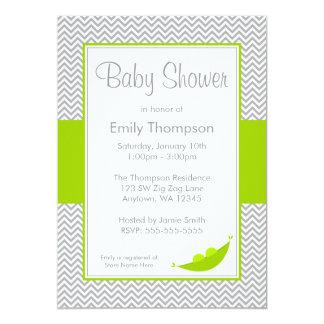 Green Gray Chevron Pea Pod Baby Shower Invitations