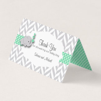 Green & Gray Elephant Baby Shower | Candy Toppers Business Card