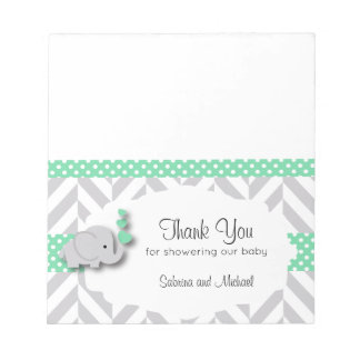 Green & Gray Elephant Baby Shower  | Candy Toppers Notepad