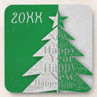 Green Gray Happy New Year 2018 Coaster