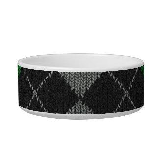 Green & Gray Knit Argyle Pattern Cat Food Bowls