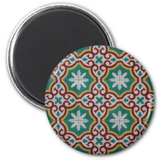Green Gray Maroon Spanish Tile 2 Inch Round Magnet