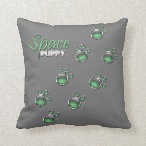 "Green & Gray ""Space Puppy"" Paw Prints Pillow"