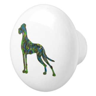 Green Great Dane Ceramic Knob