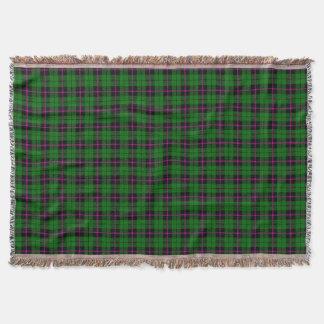 Green green plaid print, black pink stripe throw blanket