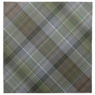 Green grey brown plaid pattern napkin