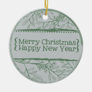 Green Grey Leaves Christmas Round Ceramic Ornament