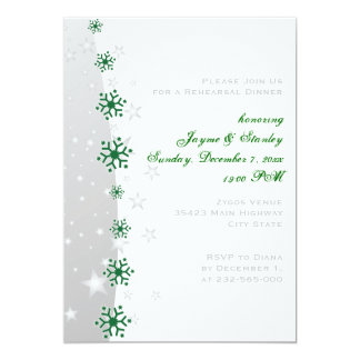 Green, grey snowflake wedding rehearsal dinner card