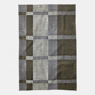 Green & Grey Stripe Box Pattern Kitchen Towels