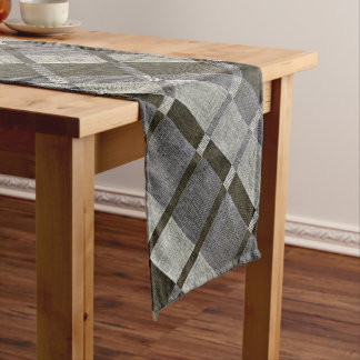 Green & Grey Stripe Box Pattern Table Runner