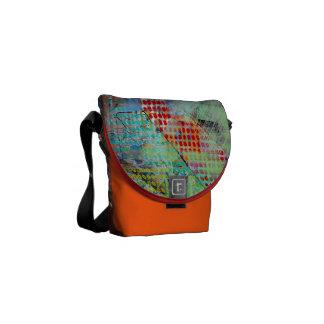 Green Grid Messenger Bag